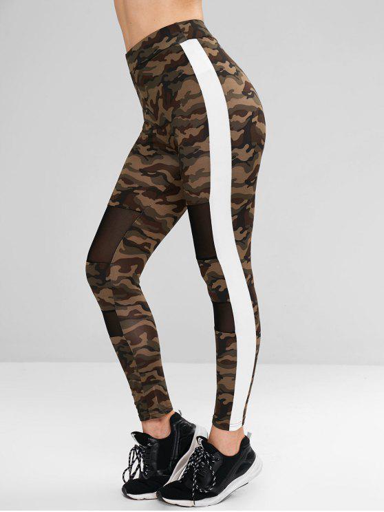 women Camo Mesh Panel Contrast Side Leggings - MULTI S