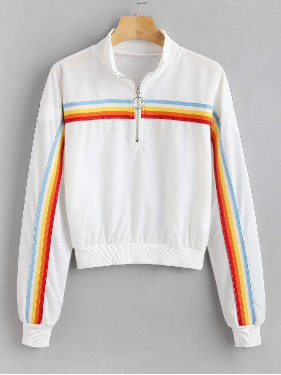 womens Front Zip Striped Panel Sweatshirt - WHITE S