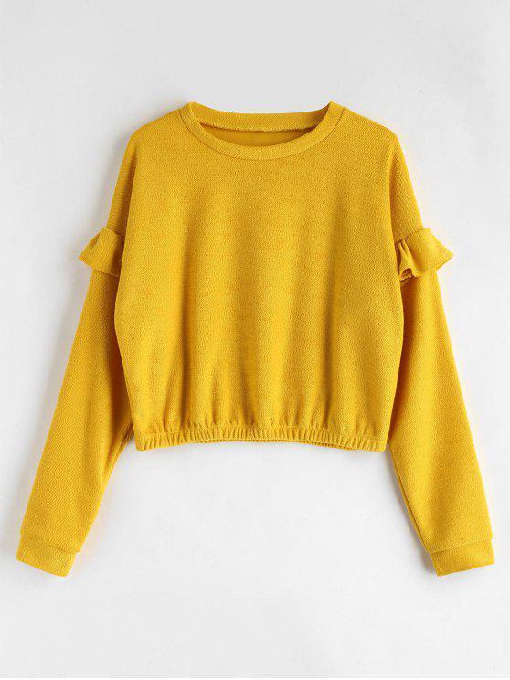 affordable Loose Ruffles Sweatshirt - BRIGHT YELLOW XL