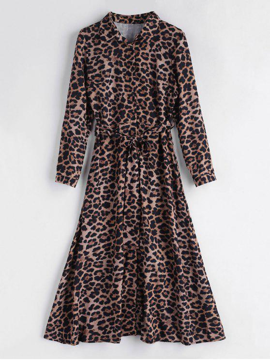 Vestido largo con cinturón y estampado de leopardo - Leopardo L
