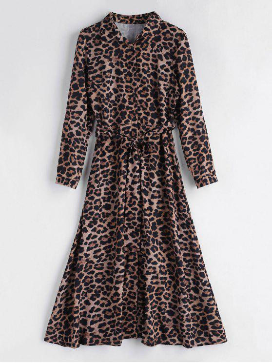 lady Leopard Belted Maxi Dress - LEOPARD M