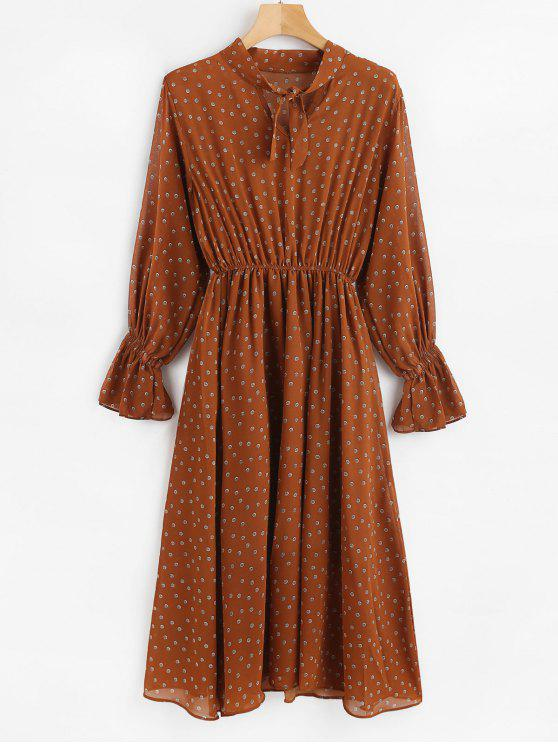 sale Printed Long Sleeve Midi Dress - BROWN L