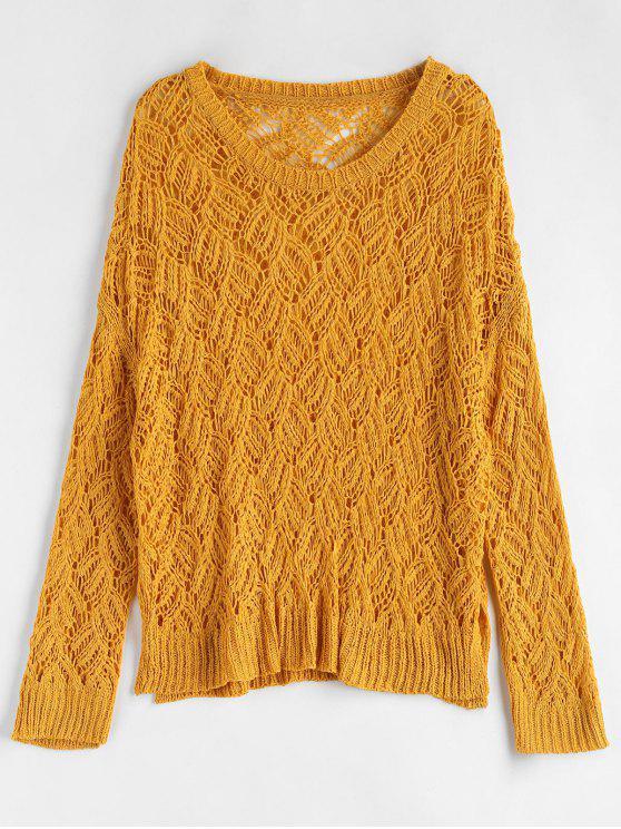 lady Oversized Open Stitch Sweater - MUSTARD ONE SIZE