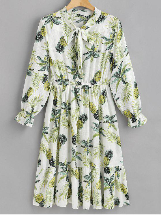 fashion Pineapple Long Sleeve A Line Dress - WHITE M