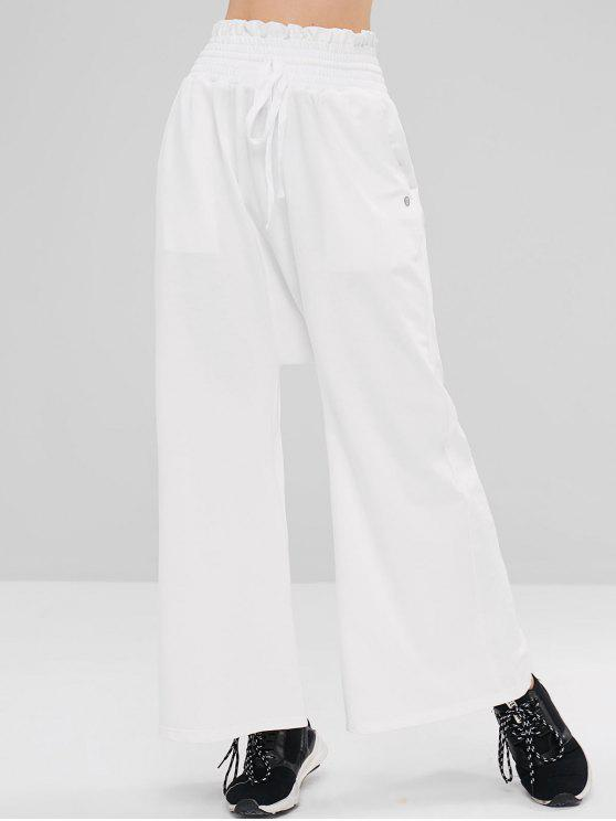 Calças de perna larga com cordão Shirred Shirred - Leite Branco M