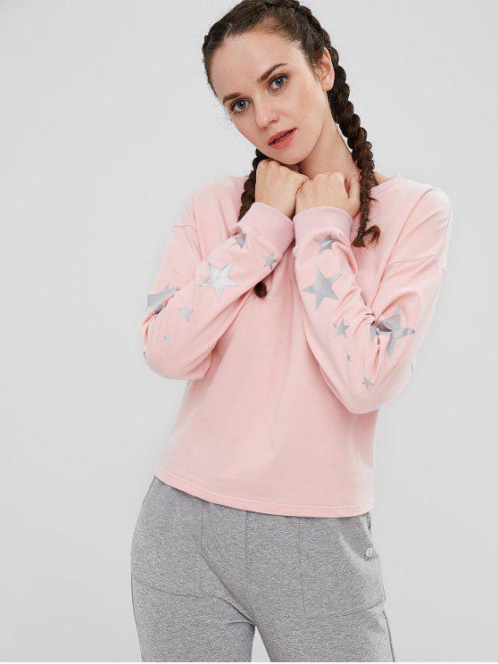 ZAFUL Sweat-shirt à épaules dénudées - Rose Léger  M