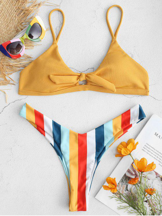 fancy ZAFUL Ribbed Rainbow High Leg Bikini Set - BEE YELLOW L