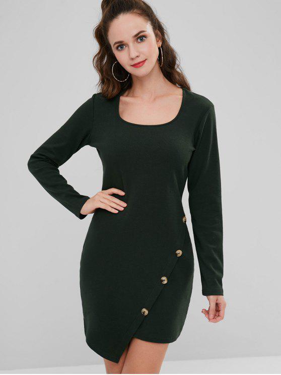 Mini vestido acanalado lateral abotonado - Verde de Bosque Oscuro M
