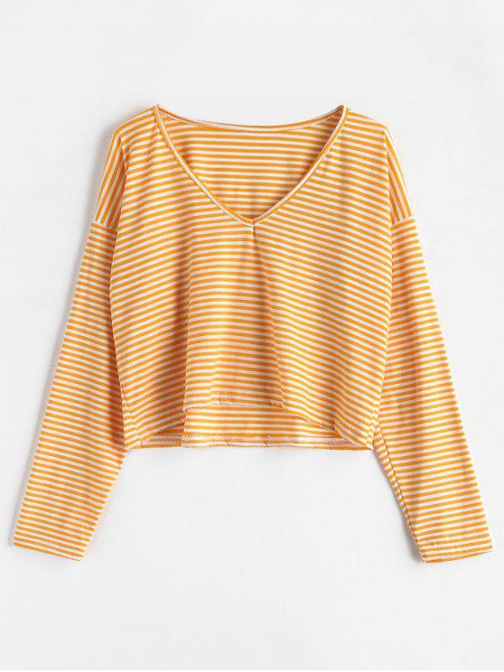 ladies V Neck Striped Tee - BEE YELLOW S