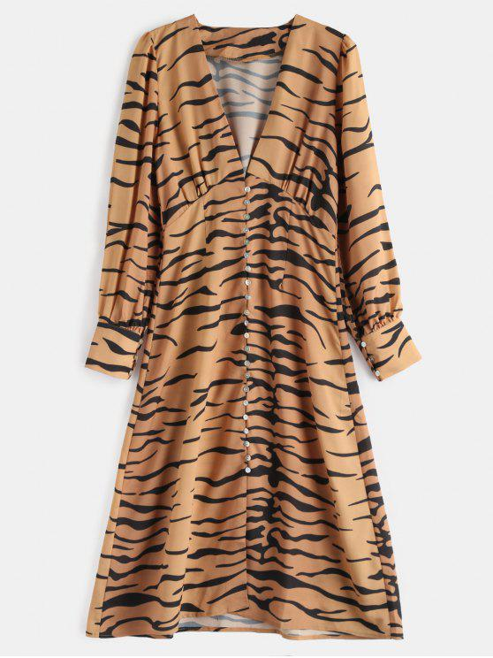 Low Cut Zebra Langarm Kleid - Multi S