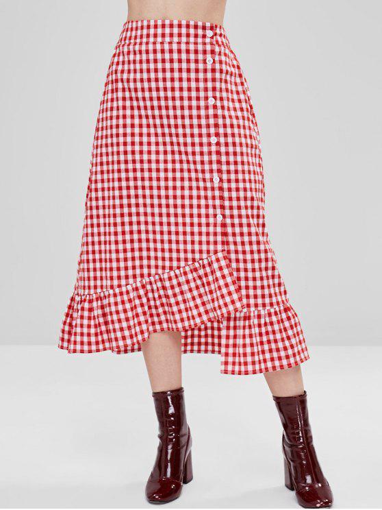 online ZAFUL Button Up Ruffled Trim Gingham Skirt - MULTI M