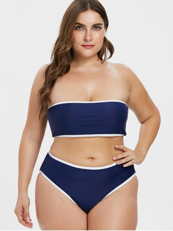 latest ZAFUL Plus Size Contrast Trim Bandeau Bikini - MIDNIGHT BLUE L