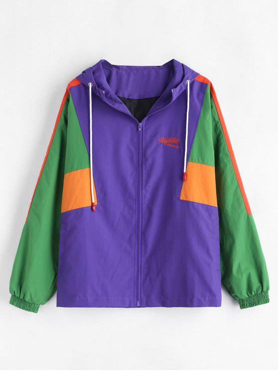 ladies Color Block Hooded Jacket - PURPLE ONE SIZE