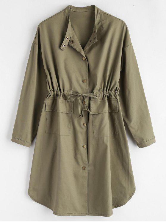fancy Longline Front Pockets Coat - ARMY GREEN L