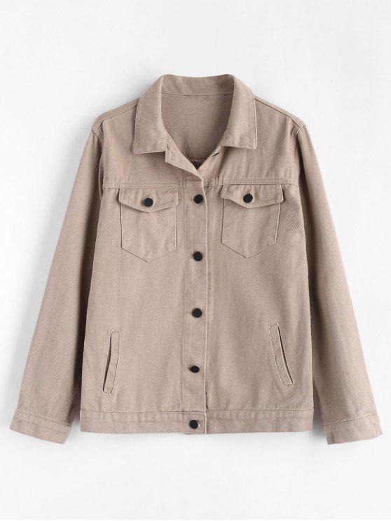 women Button Up Zip Embellished Shirt Jacket - LIGHT KHAKI S