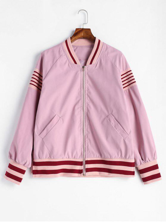 womens Knit Striped Panel Bomer Jackets - PIG PINK S