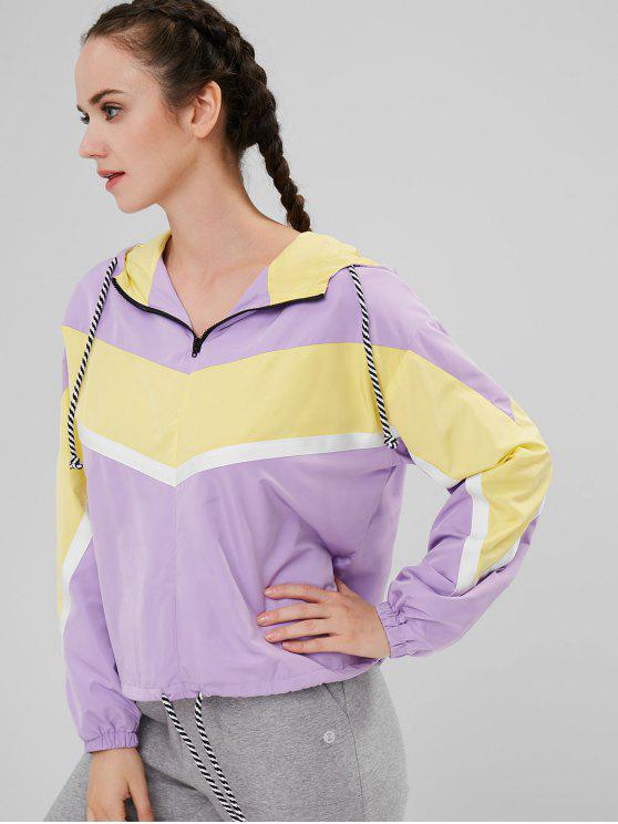 unique ZAFUL Contrasting Color Hooded Zip Up Jacket - PURPLE S