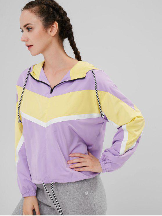 ZAFUL Chaqueta con cremallera con capucha en color contrastante - Púrpura L