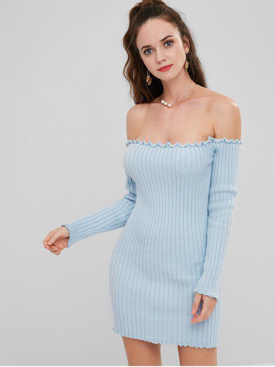 outfit ZAFUL Ruffles Long Sleeve Ribbed Sweater Dress - LIGHT BLUE S