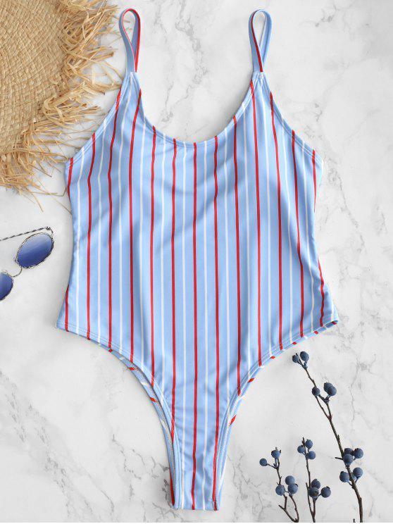 ZAFUL مخطط السباغيتي الشريط قطعة واحدة ملابس السباحة - ازرق M