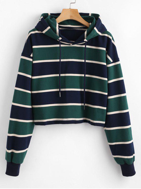 ZAFUL Stripe Crop Hoodie - Multi S