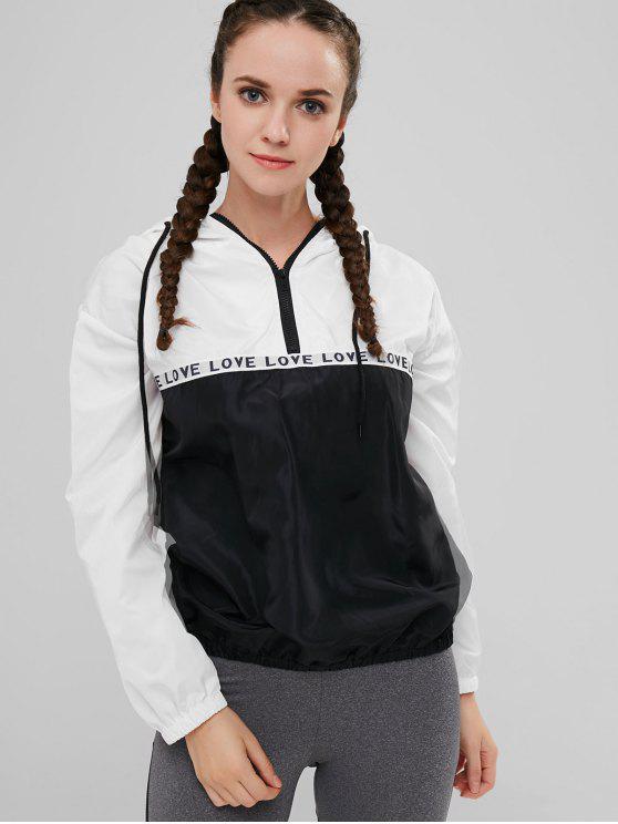 outfits Love Half Zip Windbreaker Hoodie - MULTI-A M