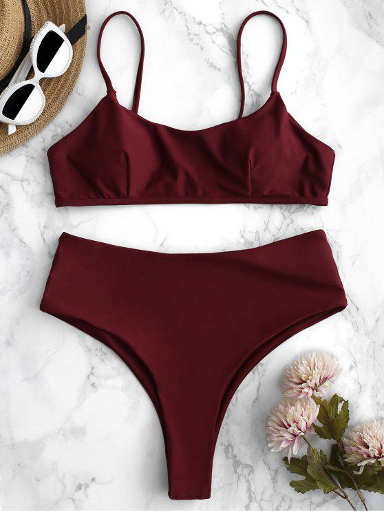 womens ZAFUL High Waisted High Leg Bikini Set - RED WINE M