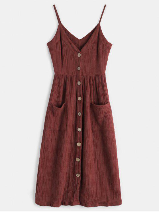 affordable Cami Button Through Woven Midi Dress - MAROON L