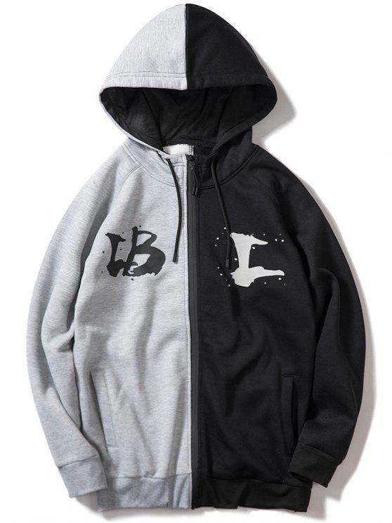 chic Contrast Letter Zipper Fleece Hoodie - GRAY S
