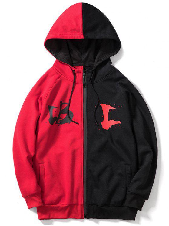 trendy Contrast Letter Zipper Fleece Hoodie - 红色 M