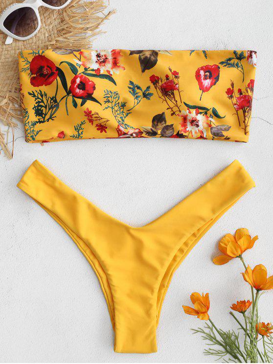 ZAFUL Bikini et Culotte String Bandeau Floral - Jaune Clair S