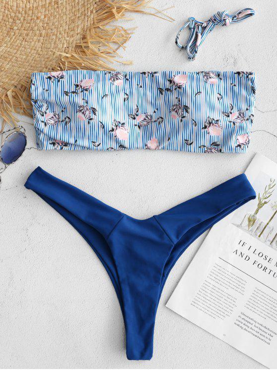 Bikini de pierna alta floral con rayas ZAFUL - Azul de Zafiro L