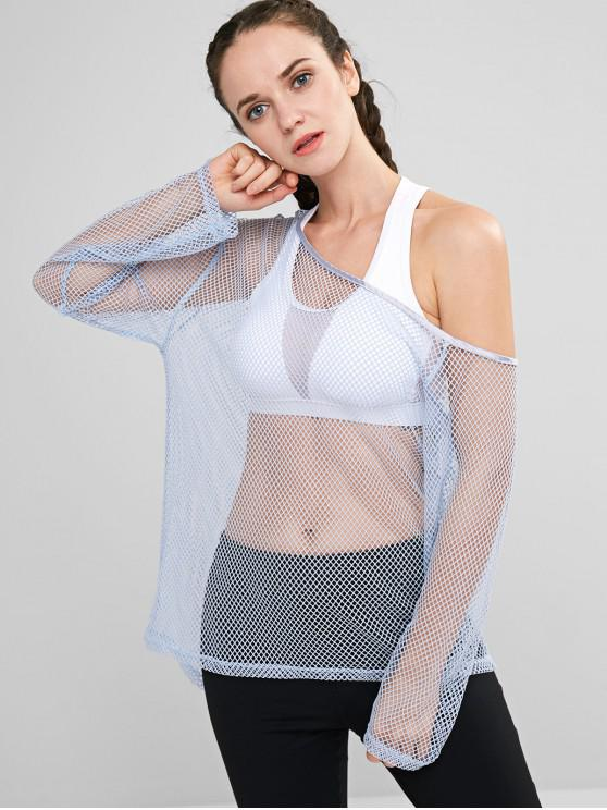 women's ZAFUL Fishnet Skew Neck T-shirt - PASTEL BLUE M