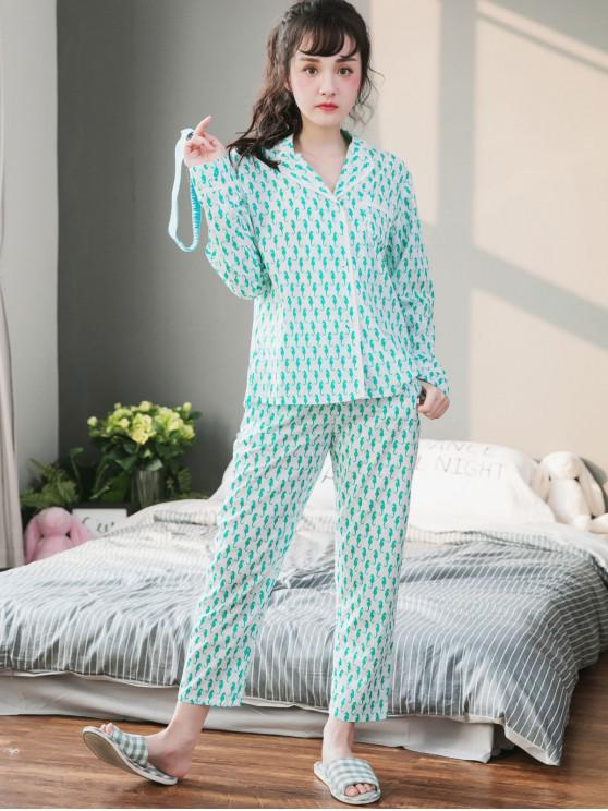 online Cute Animal Print Pajamas Set - WHITE XL
