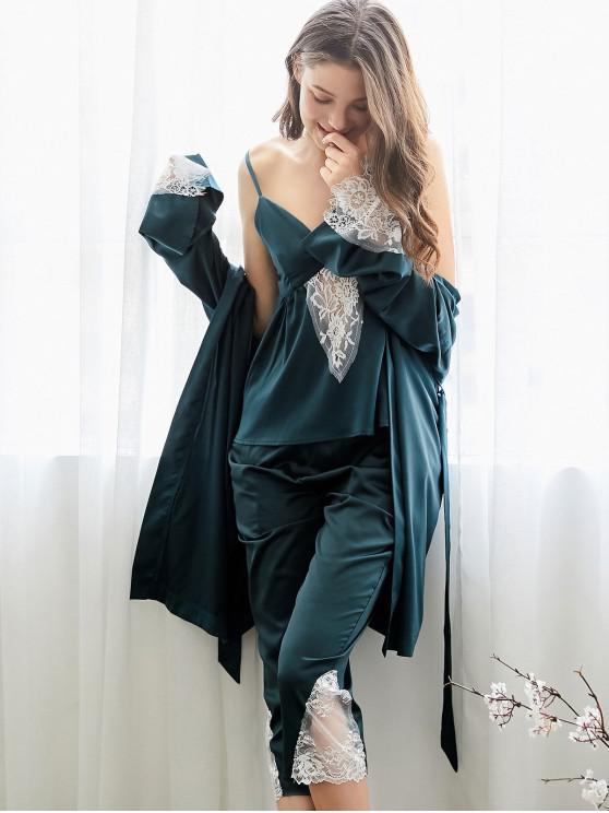 Pyjama-Set mit Gürtel und Spitzenbesatz - Pfauenblau XL
