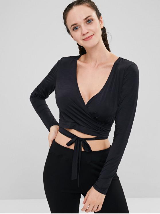 hot ZAFUL Surplice Open Back Crop T-shirt - BLACK L