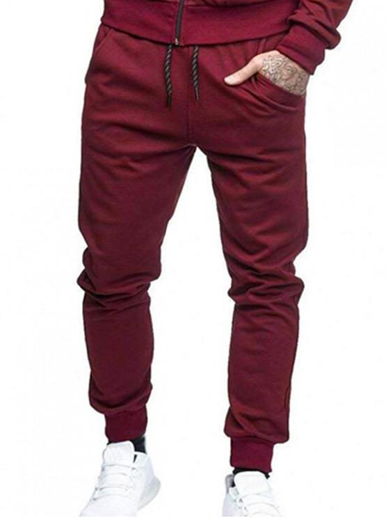 women Solid Side Pockets Sports Jogger Pants - RED WINE L