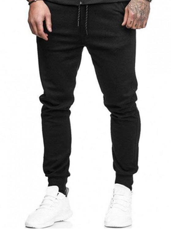 ladies Solid Side Pockets Sports Jogger Pants - BLACK M
