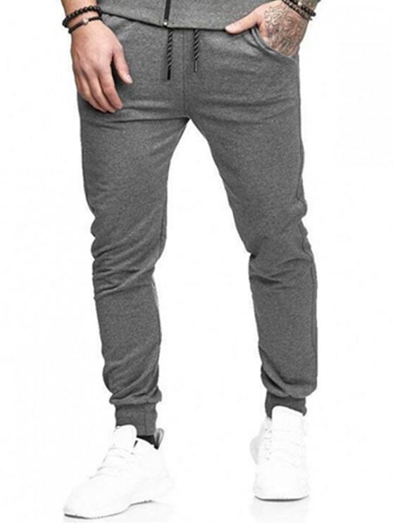 Calças de basculador esportivo de bolsos laterais sólidas - Cinzento M