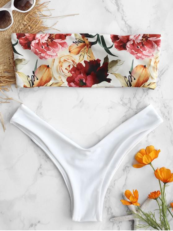 women ZAFUL Bandeau Side Boning Floral Bikini Set - WHITE M