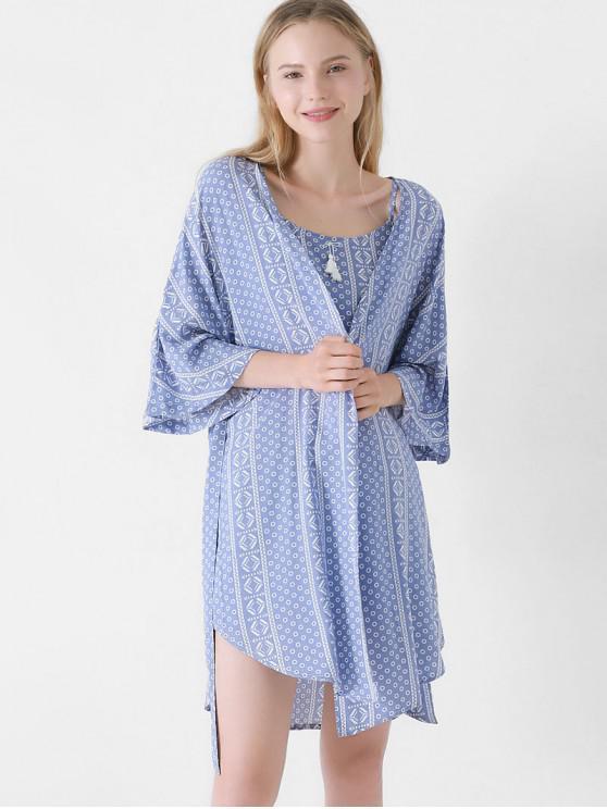 19073da3bdd9 61% OFF  2019 Cami Top Shorts Robe Pajama Set In SKY BLUE