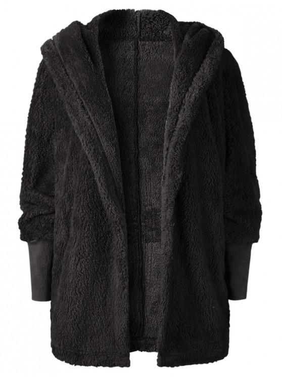 shops Oversize Open Front Furry Coat - BLACK XL