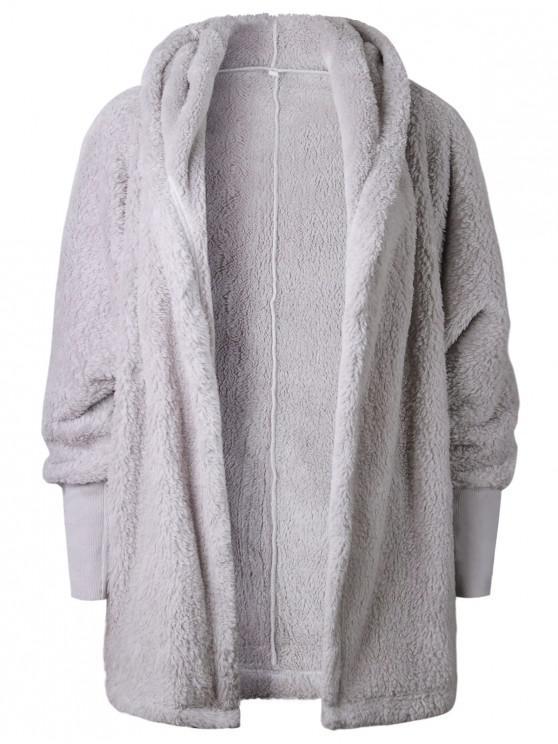 trendy Oversize Open Front Furry Coat - LIGHT GRAY S