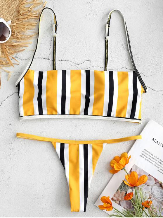 Bikini a Rayas con Tirantes y Tanga - Multicolor M