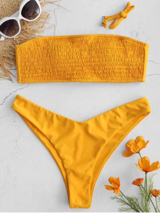 affordable ZAFUL Smocked Lace Up Bandeau Bikini Set - BEER L