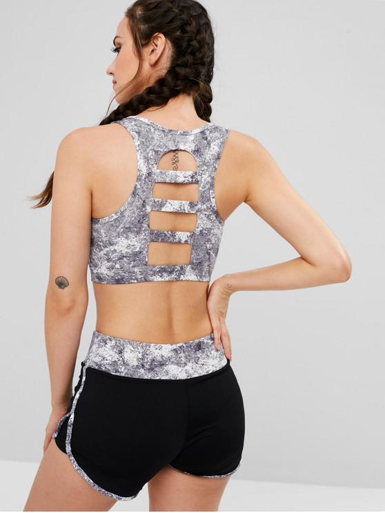 hot Cut Out Sports Bra and Shorts Set - GRAY L