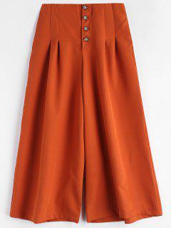 Button Fly Culotte Pants - Papaya Orange M