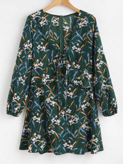 Flower Plunging Ruffle Dress - Medium Sea Green M