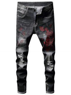 Embroidery Dragon Ripped Jeans - Black 32