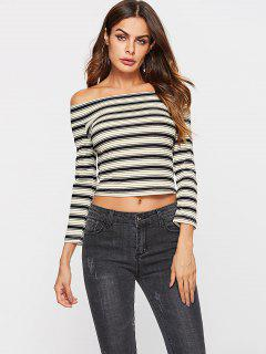 ZAFUL Ribbed Striped Off The Shoulder Top - Multi S
